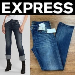 NEW EXPRESS MID RISE CUFFED CROPPED SKINNY JEANS
